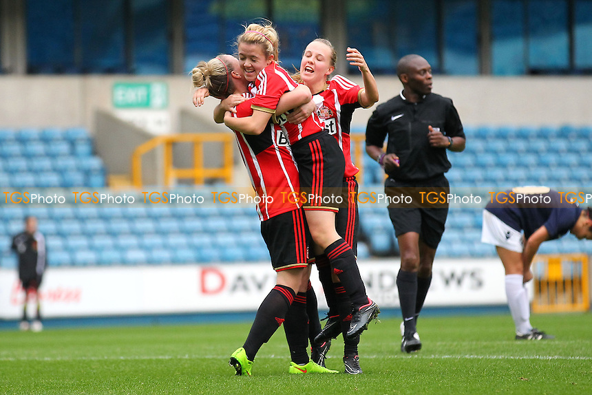 Abbey Joice of Sunderland AFC Ladies (C) scores the fourth goal for her team and is congratulated by her team mates - Millwall Lionesses vs Sunderland AFC Ladies - FA Womens Super League Football at Milwall FC, the New Den, London - 26/10/14 - MANDATORY CREDIT: Gavin Ellis/TGSPHOTO - Self billing applies where appropriate - contact@tgsphoto.co.uk - NO UNPAID USE