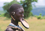 Mursi tribe woman with lip plug