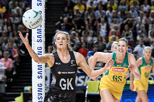 09.10.2016. Qudos Bank Arena, Sydney, Australia. Constellation Cup Netball. Australia Diamonds versus New Zealand Silver Ferns. New Zealands Jane Watson catches a pass. The Diamonds won the game 68-56.