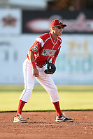 Batavia Muckdogs shortstop Aaron Blanton (11) during a game against the Auburn Doubledays on June 14, 2014 at Dwyer Stadium in Batavia, New York.  Batavia defeated Auburn 7-2.  (Mike Janes/Four Seam Images)