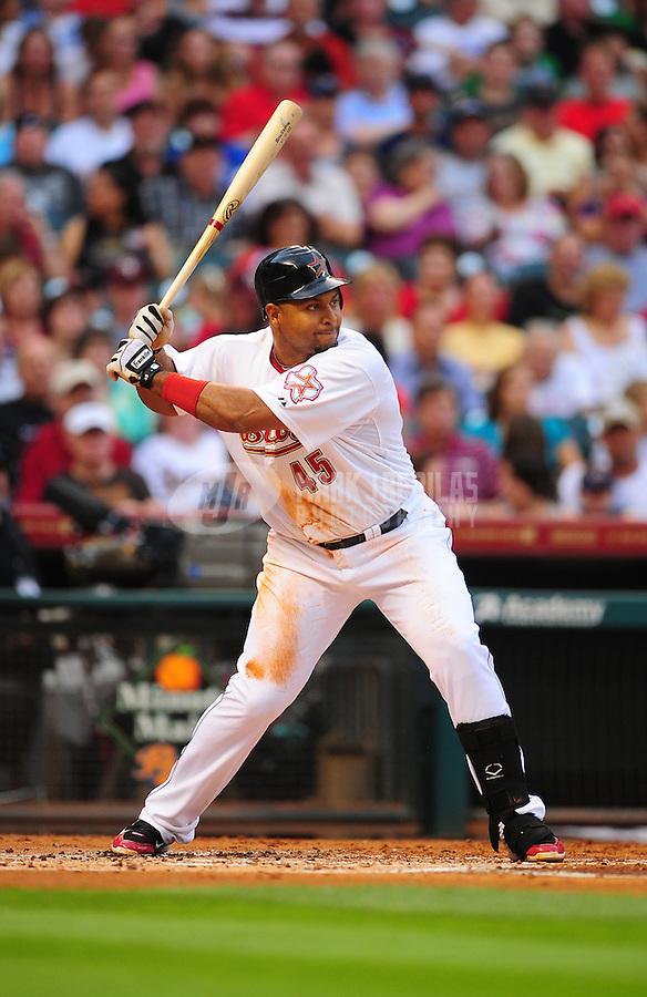 Apr. 30, 2011; Houston, TX, USA: Houston Astros first baseman Carlos Lee against the Milwaukee Brewers at Minute Maid Park. Mandatory Credit: Mark J. Rebilas-