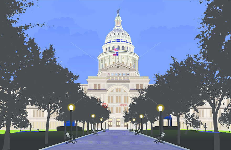 Vector Graphic eps image of the Texas State Capitol built 1888 of 'sunset red' pink granite from a Granite Mountain Quarry in Marble Falls - largest of all state capitols - second only in size to National Capitol in Washington DC but surpasses National Capitol in height - Austin, Texas