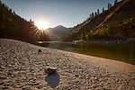 Idaho, Central, Frank Church River of No Return Wilderness Area. The Salmon River at sunset in mid July from a sandy beach.
