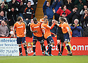 Matthew Barnes-Homer of Luton (c) celebrates with team-mates after scoring the winning goal  during the  Blue Square Premier match between Stevenage Borough and Luton Town at the Lamex Stadium, Broadhall Way, Stevenage on Saturday 3rd April, 2010..© Kevin Coleman 2010 .