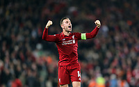 Liverpool's Jordan Henderson celebrates at the final whistle <br /> <br /> Photographer Rich Linley/CameraSport<br /> <br /> UEFA Champions League Semi-Final 2nd Leg - Liverpool v Barcelona - Tuesday May 7th 2019 - Anfield - Liverpool<br />  <br /> World Copyright © 2018 CameraSport. All rights reserved. 43 Linden Ave. Countesthorpe. Leicester. England. LE8 5PG - Tel: +44 (0) 116 277 4147 - admin@camerasport.com - www.camerasport.com