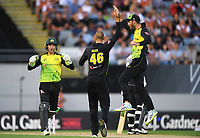 Ashton Agar appeals successfully for a LBW decision to dismiss Chapman as Glenn Maxwell joins in (R)<br /> New Zealand Black Caps v Australia.Tri-Series International Twenty20 cricket final. Eden Park, Auckland, New Zealand. Wednesday 21 February 2018. &copy; Copyright Photo: Andrew Cornaga / www.Photosport.nz
