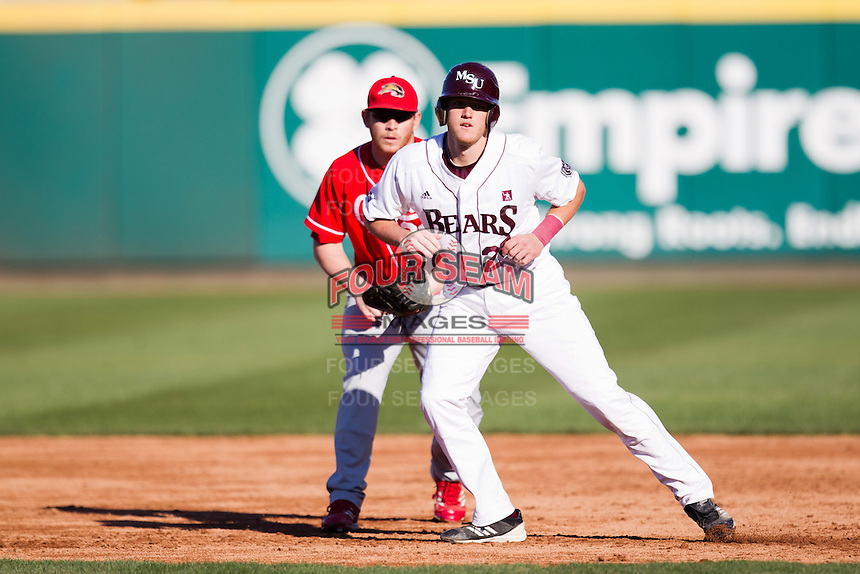 Koby Peebles (24) of the Missouri State Bears leads off first base during a game against the Southern Illinois University- Edwardsville Cougars at Hammons Field on March 9, 2012 in Springfield, Missouri. (David Welker / Four Seam Images)