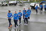 FC Luzern v St Johnstone...16.07.14  Europa League 2nd Round Qualifier<br /> Bria Esaton, Zander Clark, Gary Miller and Michael O'Halloran walk to the plane at Edinburgh heading for Basel in Switzerland ahead of tomorrow's game against FC Luzern<br /> Picture by Graeme Hart.<br /> Copyright Perthshire Picture Agency<br /> Tel: 01738 623350  Mobile: 07990 594431
