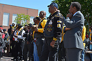 May 26, 2013  (Washington, DC)  Members of the Buffalo Soldiers motorcycle club and Dr. Frank smith (r) during a ceremony at the African American Civil War Memorial in D.C. May 26, 2013. The event occurs each year during Memorial Day weekend as part of Buffalo Thunder. (Photo by Don Baxter/Media Images International)