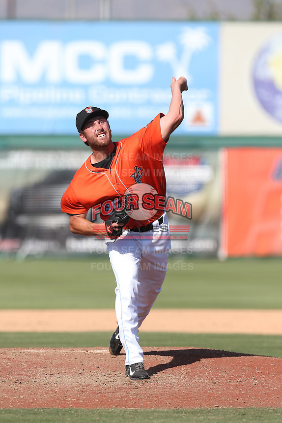 Cole Swanson (25) of the Inland Empire 66ers pitches during a game against the Stockton Ports at The Hanger on April 11, 2015 in Lancaster, California. San Jose defeated Lancaster, 8-3. (Larry Goren/Four Seam Images)