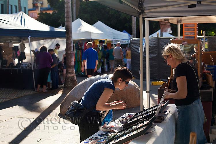 Handicraft stall at the weekend Esplanade Markets.  Cairns, Queensland, Australia