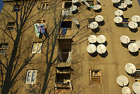 ROMANIA, 12.2007, Bucharest..Tree shadows and satellite dishes in Aparatorii Patriei area, Bucharest, Romania..© Egyed Ufo Zoltan / Est&Ost Photography