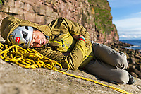 Andy Turner rests below the St John's Head, Hoy, Scotland