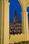 Hamburg Rathaus at night reflected in the lake waters, Town hall,Hamburg, Germany