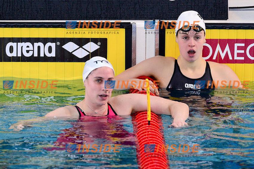 Sophie de Ronchi (Fra) et Fanny Lecluyse (Bel) - 100m brasse .XVI European Short Course Swimming Championships.Chartres - FRA France 24/11/2012.Day03.Foto JB Autissier / Panoramic / Insidefoto.ITALY ONLY
