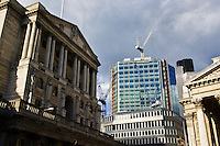Construction work with cranes near The Bank of England, London, England, United Kingdom