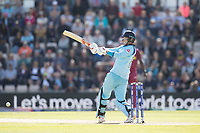 Joe Root (England) pulls a short delivery fine behind square from Oshane Thomas (West Indies) to bring up his century during England vs West Indies, ICC World Cup Cricket at the Hampshire Bowl on 14th June 2019