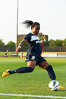 Sky Blue FC forward Danesha Adams (9). Sky Blue FC defeated the Boston Breakers 5-1 during a National Women's Soccer League (NWSL) match at Yurcak Field in Piscataway, NJ, on June 1, 2013.