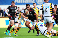 Billy Vunipola of Saracens takes on the Wasps defence. Aviva Premiership match, between Saracens and Wasps on October 9, 2016 at Allianz Park in London, England. Photo by: Patrick Khachfe / JMP