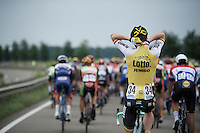 Robert Wagner (DEU/LottoNL-Jumbo) stuffing his rain jacket into his jersey<br /> <br /> stage 3: Buchten - Buchten (NLD/210km)<br /> 30th Ster ZLM Toer 2016