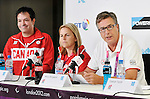 LONDON, ENGLAND 08/28/2012:  Marco Dispaltro, Diane Roy and Henry Storgaard at Team Canada Preview press conference before the London 2012 Paralympic Games at the Main Press Centre. (Photo by Matthew Murnaghan/Canadian Paralympic Committee)