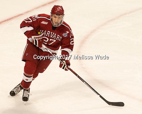 Viktor Dombrovskiy (Harvard - 27) - The University of Minnesota Duluth Bulldogs defeated the Harvard University Crimson 2-1 in their Frozen Four semi-final on April 6, 2017, at the United Center in Chicago, Illinois.