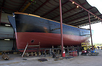JEANIE JOHNSTON TO SET FOR LAUNCH ON TUESDAY 18-4-00.The magnificient  Jeanie Johnston replica familne ship nearing completion and  which will be launched on Tuesday. The ship will ride 'piggy-back' on a special barge to Fenit Port about three miles from Blennerville where it will enter the water in Tralee Bay..Picture by Don MacMonagle