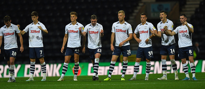 Preston North End players celebrate another penalty being scored<br /> <br /> Photographer Dave Howarth/CameraSport<br /> <br /> The Carabao Cup Second Round - Preston North End v Hull City - Tuesday 27th August 2019  - Deepdale Stadium - Preston<br />  <br /> World Copyright © 2019 CameraSport. All rights reserved. 43 Linden Ave. Countesthorpe. Leicester. England. LE8 5PG - Tel: +44 (0) 116 277 4147 - admin@camerasport.com - www.camerasport.com
