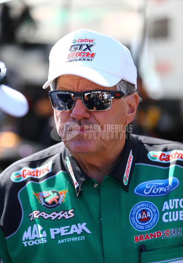 Jun. 1, 2014; Englishtown, NJ, USA; NHRA funny car driver John Force during the Summernationals at Raceway Park. Mandatory Credit: Mark J. Rebilas-