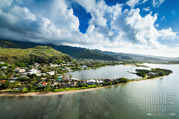 An aerial image of Paiko Lagoon next to Kuli'ou'ou in East O'ahu at sunrise.