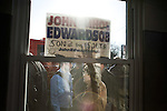 January 24, 2008. Anderson, SC.. Presidential candidate and former US senator, John Edwards campaigned across the western part of South Carolina today in an effort to shore up support before Saturday's primary election.. A large crowd of about 200 people greeted Edwards at a fire house  in . Anderson, SC.