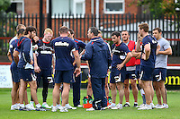 PICTURE BY ALEX WHITEHEAD/SWPIX.COM - Rugby League - England Training - Belle Vue Stadium, Wakefield, England - 02/07/12 -  Steve McNamara talks to the players.