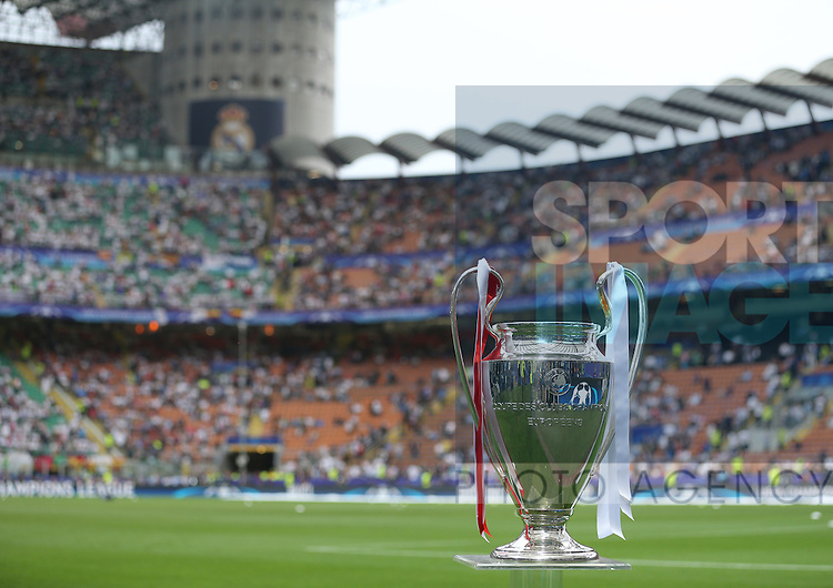 The UEFA Champions League trophy during the UEFA Champions League Final match at the  Giuseppe Meazza Stadium, Milan, Italy. Photo credit should read: David Klein/Sportimage