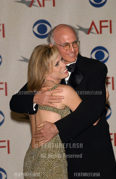 Actress CHERYL HINES with Seinfeld creator LARRY DAVID at the AFI Awards 2001 at the Beverly Hills Hotel. .05JAN02..© Paul Smith/Featureflash