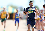 FARGO, ND - MAY 13: D'Khari Hicks from Oral Roberts celebrates winning the men's 4x400 meter relay Saturday at the 2017 Summit League Outdoor Track Championship at the Ellig Sports Complex in Fargo, ND. (Photo by Dave Eggen/Inertia)