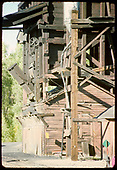 View of base of coaling tower and sand tower at Chama.<br /> D&amp;RGW  Chama, NM