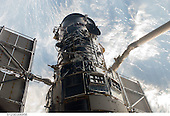 In Earth Orbit - May 13, 2009 -- An STS-125 crewmember onboard the Space Shuttle Atlantis snapped a still photo of the Hubble Space Telescope following grapple of the giant observatory by the shuttle's Canadian-built remote manipulator system..Credit: NASA via CNP