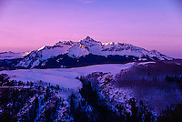 Dawn breaks over 14,023 foot high  Wilson Peak near Telluride, Colorado.