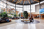 People in a waiting lounge of Victoria International Airport YYJ, lobby interior, Victoria, British Columbia, Canada 2017