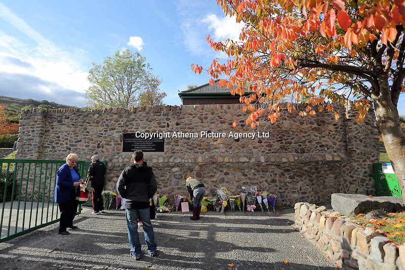 Pictured: The entrance to the Memorial Garden Friday 21 October 2016<br />Re: Wales has fallen silent as the country remembered the Aberfan disaster 50 years ago.<br />On 21 October 1966, a mountain of coal waste slid down into a school and houses in the Welsh village, killing 144 people, including 116 children.<br />A day of events to commemorate the disaster included a service at Aberfan Cemetery at 9:15am on Friday.<br />Prince Charles is visiting Aberfan memorial garden before unveiling a plaque in memory of the victims.<br />He will also attend a reception with the families of some of those who lost their lives, before signing a book of remembrance.