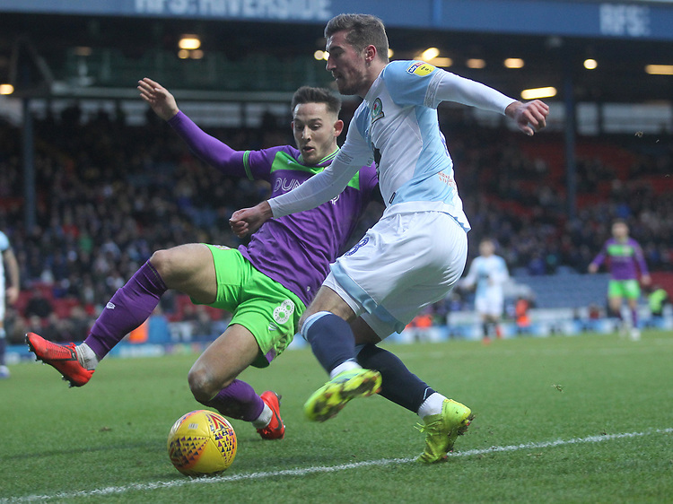 Blackburn Rovers Joe Rothwell  battles with  Bristol City's Josh Brownhill<br /> <br /> Photographer Mick Walker/CameraSport<br /> <br /> The EFL Sky Bet Championship - Blackburn Rovers v Bristol City - Saturday 9th February 2019 - Ewood Park - Blackburn<br /> <br /> World Copyright &copy; 2019 CameraSport. All rights reserved. 43 Linden Ave. Countesthorpe. Leicester. England. LE8 5PG - Tel: +44 (0) 116 277 4147 - admin@camerasport.com - www.camerasport.com