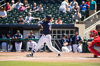 Northwest Arkansas Naturals outfielder Anderson Miller (4) connects on a pitch on May 19, 2019, at Arvest Ballpark in Springdale, Arkansas. (Jason Ivester/Four Seam Images)