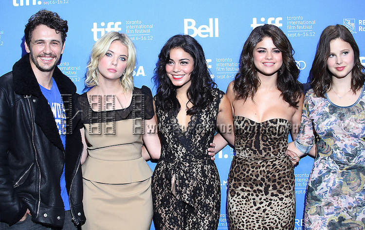 (L-R) Actors James Franco, Ashley Benson, Vanessa Hudgens, Selena Gomez, Rachel Korine attending the The 2012 Toronto International Film Festival.Photo Call for Spring Breakers' at the TIFF Bell Lightbox in Toronto on 9/7/2012