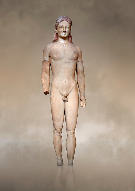 Parian marble Ancient Greek Archaic statue of a kouros, found in Merenda, Attica, Circa 540-530 BC, Athens National Archaeological Museum. Cat no 4890.<br /> <br /> This funerary statue was found in the same pit as Phrasikleia cat no 4489. An important Archaic Period sculpture with a lively body rendering and one of the best examples of a kouros statue.