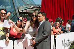 "Justin Chambers ""Greys Anatomy"" with fan at the Grimaldi Foruml on June 10, 2014 in Monte-Carlo, Monaco."