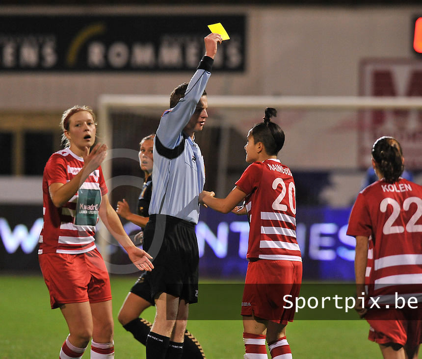 20131018 - ANTWERP , BELGIUM :  Antwerp Riana Nainggolan (20) pictured receiving the yellow card during the female soccer match between Royal Antwerp FC Ladies and Telstar Vrouwen Ijmuiden , of the Eight' matchday in the BENELEAGUE competition. Friday 18 October 2013. PHOTO DAVID CATRY