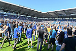 20.04.2019, Carl Benz Stadion, Mannheim, GER, RL Sued, SV Waldhof Mannheim vs. VfR Wormatia Worms, <br /> <br /> DFL REGULATIONS PROHIBIT ANY USE OF PHOTOGRAPHS AS IMAGE SEQUENCES AND/OR QUASI-VIDEO.<br /> <br /> im Bild: Die Fans stuermen nach Spielende den Platz<br /> <br /> Foto © nordphoto / Fabisch