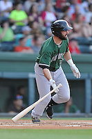 Catcher Matt Winn (16) of the Augusta GreenJackets bats in a game against the Greenville Drive on Thursday, June 9, 2016, at Fluor Field at the West End in Greenville, South Carolina. Augusta won, 8-2. (Tom Priddy/Four Seam Images)