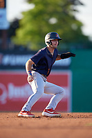 State College Spikes David Vinsky (11) leads off during a NY-Penn League game against the Batavia Muckdogs on July 1, 2019 at Dwyer Stadium in Batavia, New York.  Batavia defeated State College 5-4.  (Mike Janes/Four Seam Images)