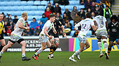 January 7th 2018, Ricoh Arena, Coventry, England;  Aviva Premiership rugby, Wasps versus Saracens;  Owen Farrell (Saracens)  spins the ball out to the back-line during the Aviva Premiership (Round 13) match between Wasps and Saracens rfc at the Ricoh Stadium